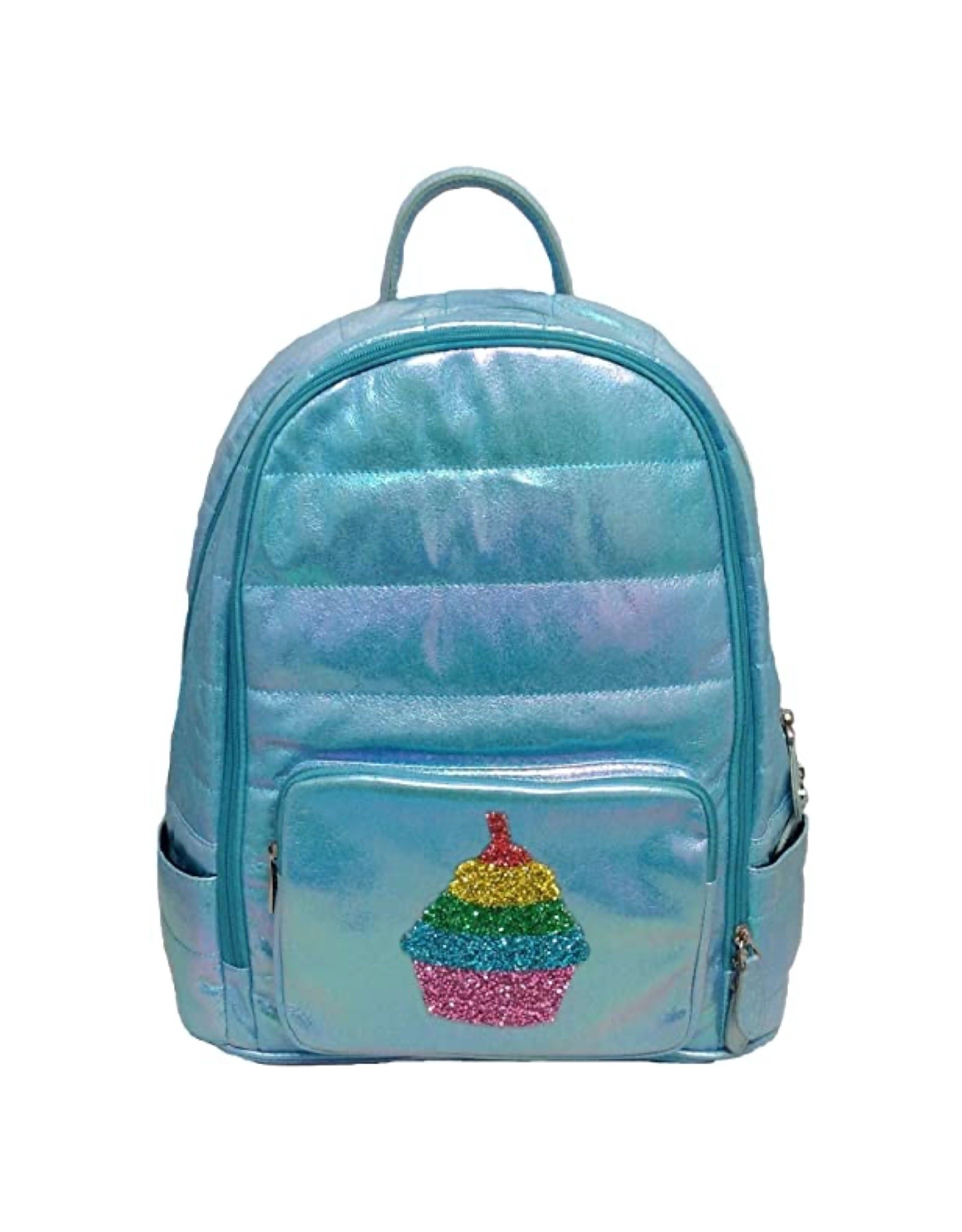 Bari Lynn Blue Iridescent Cupcake Puffy Backpack