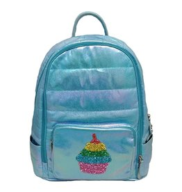 Bari Lynn Bari Lynn Blue Iridescent Cupcake Puffy Backpack