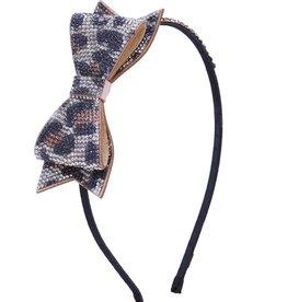 Bari Lynn Bari Lynn Crystal Bow Silver/Black Leopard  Print Headband