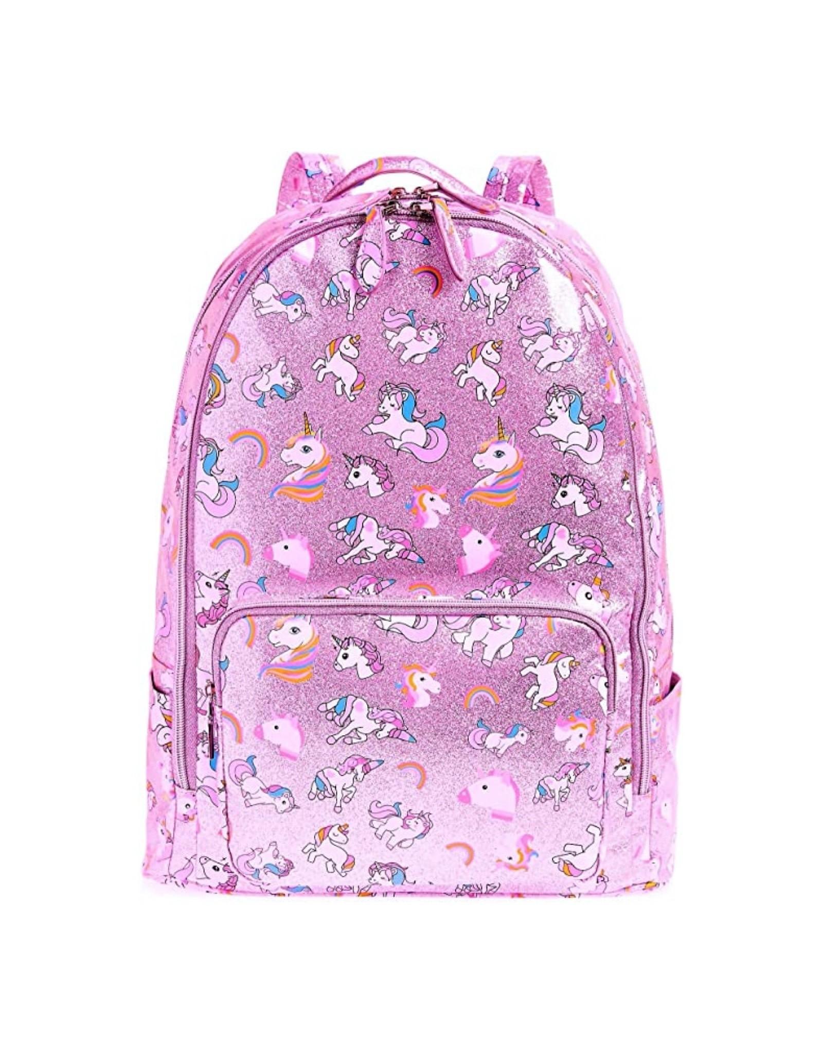 Bari Lynn Metallic Pink Unicorn Backpack