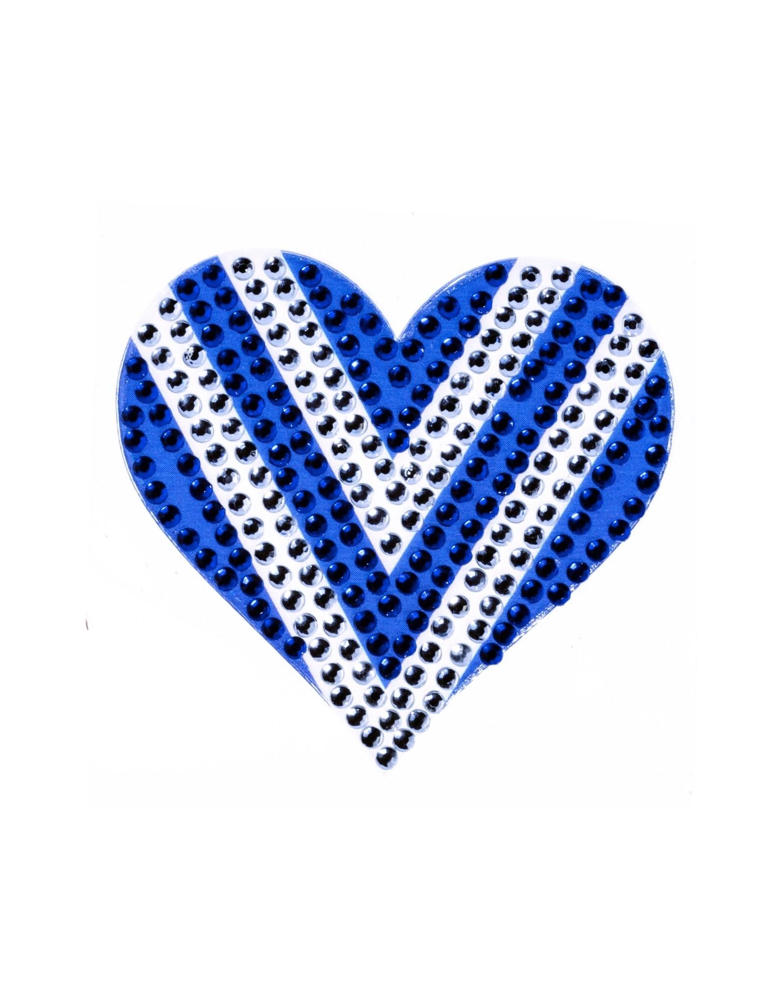 Sticker Beans Blue & White Heart