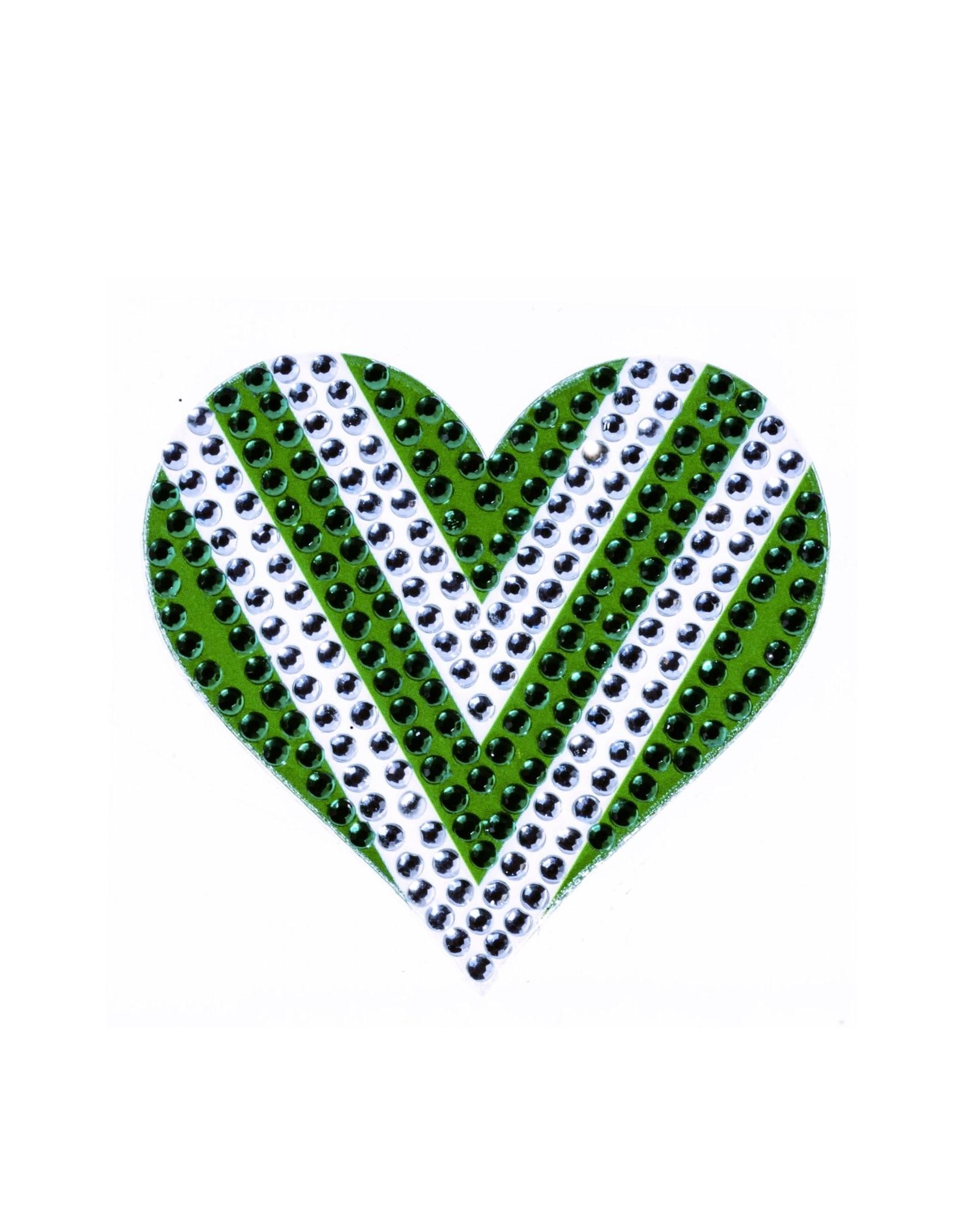 Sticker Beans Green & White Heart