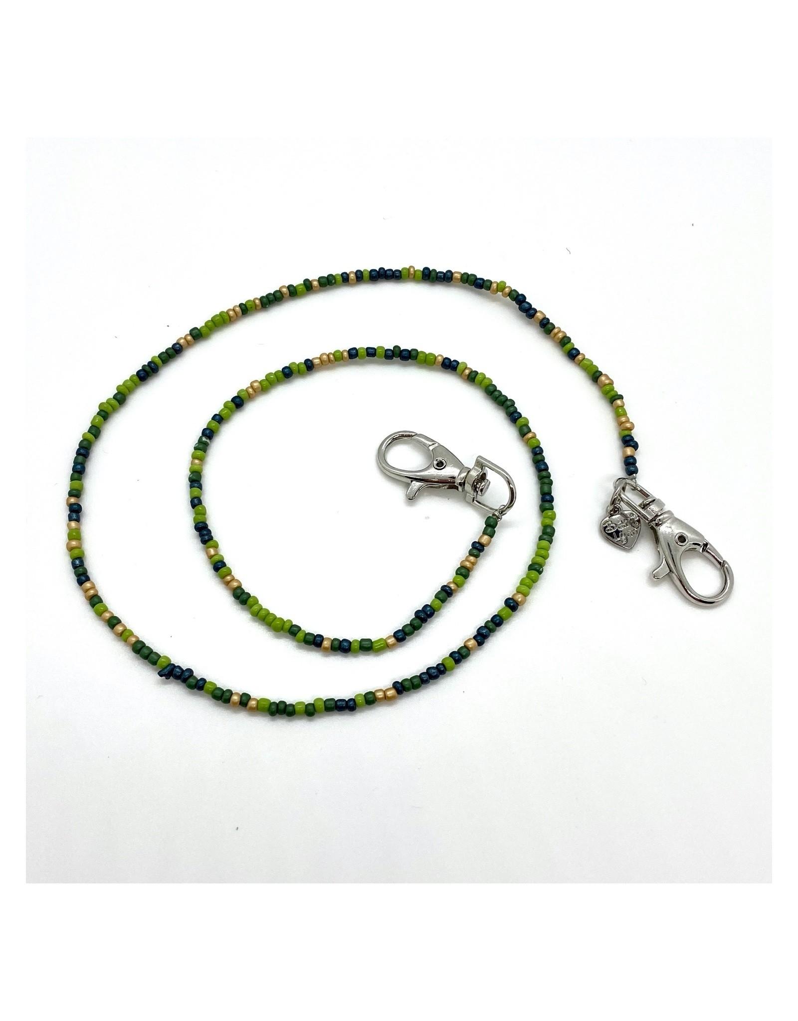 Bari Lynn Bari Lynn Green Beaded Face Covering Necklace