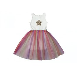 Petite Hailey Rainbow Star Tutu Dress