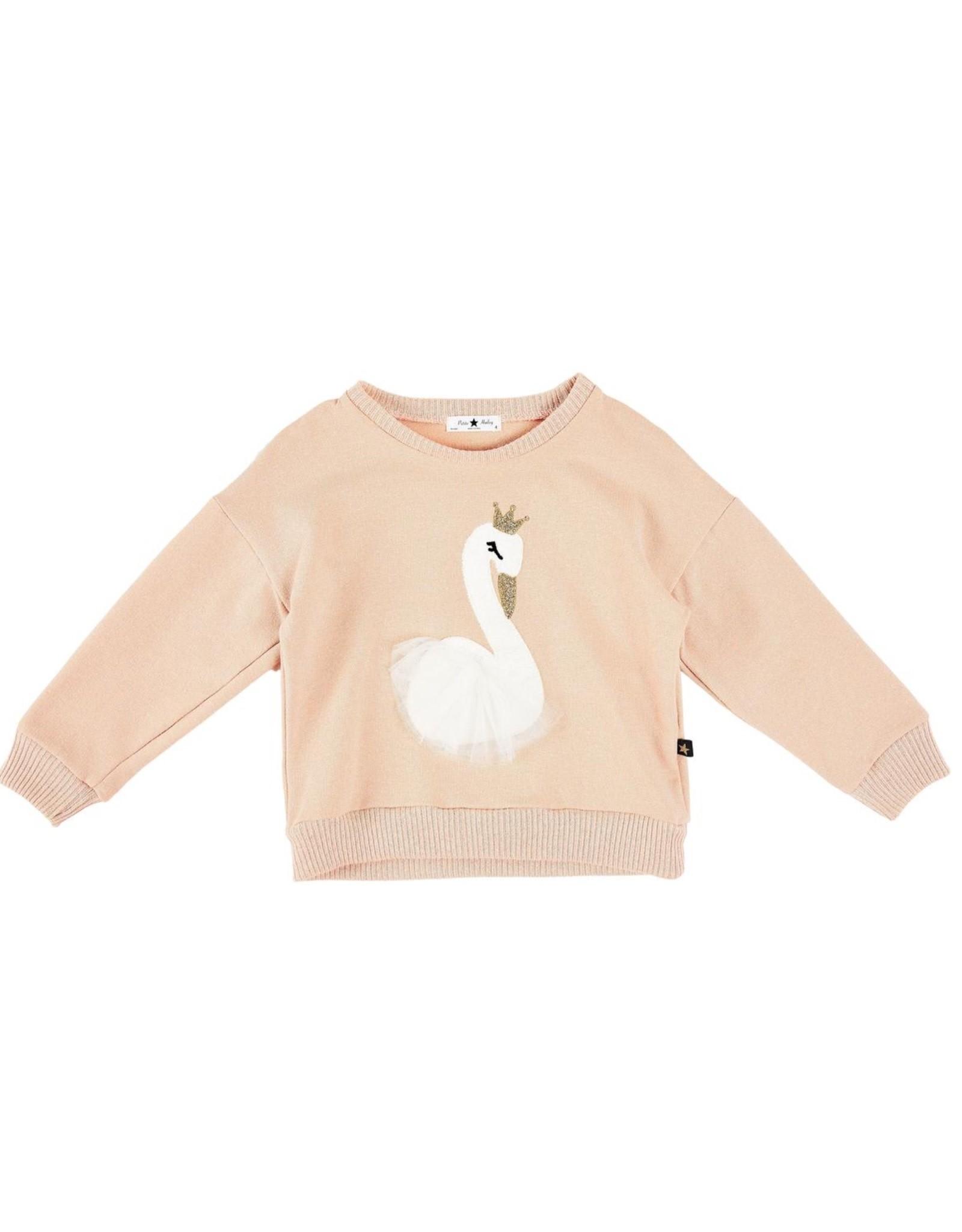 Petite Hailey Pink Swan Glitter Sweater