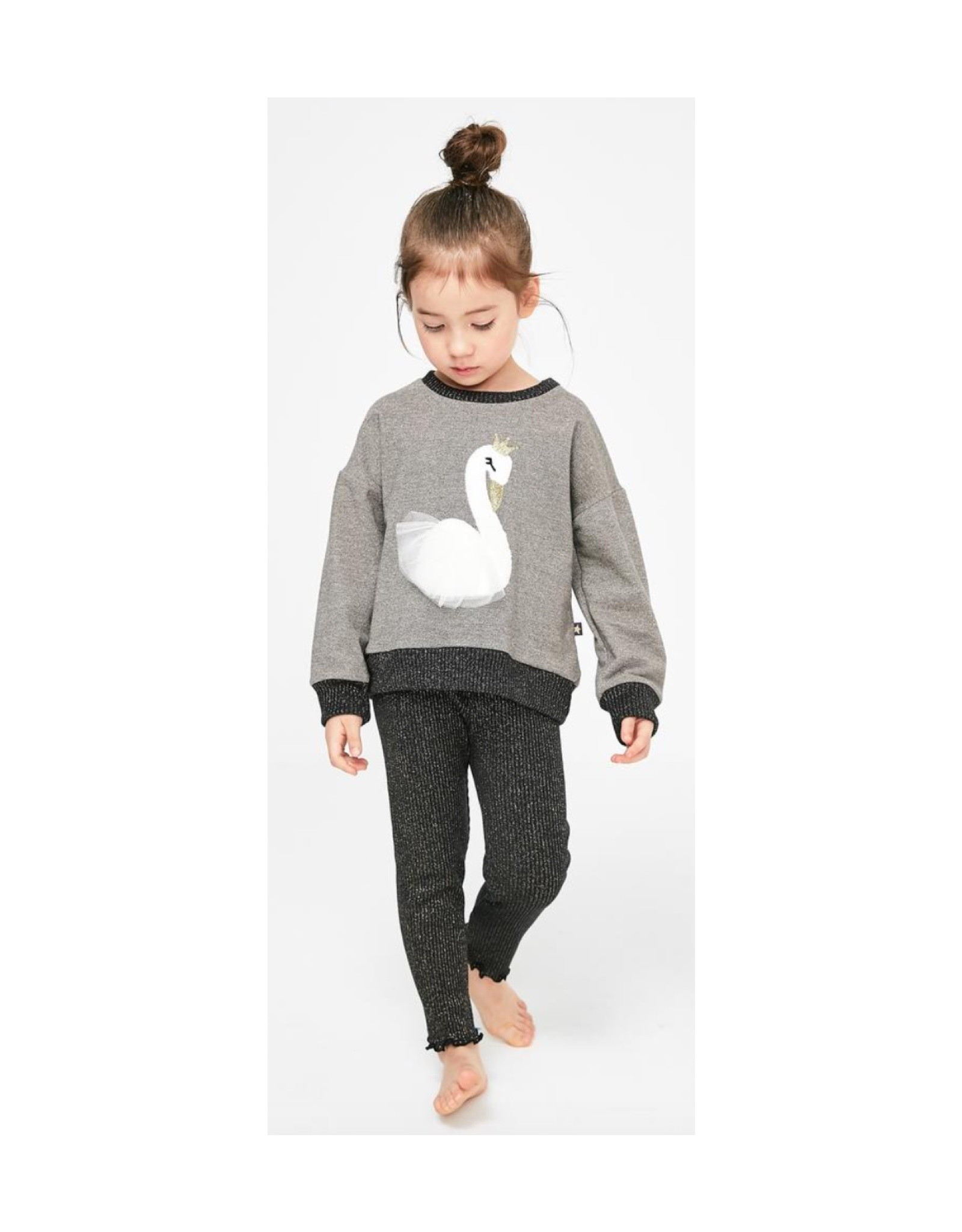 Petite Hailey Gray Swan Glitter Sweater