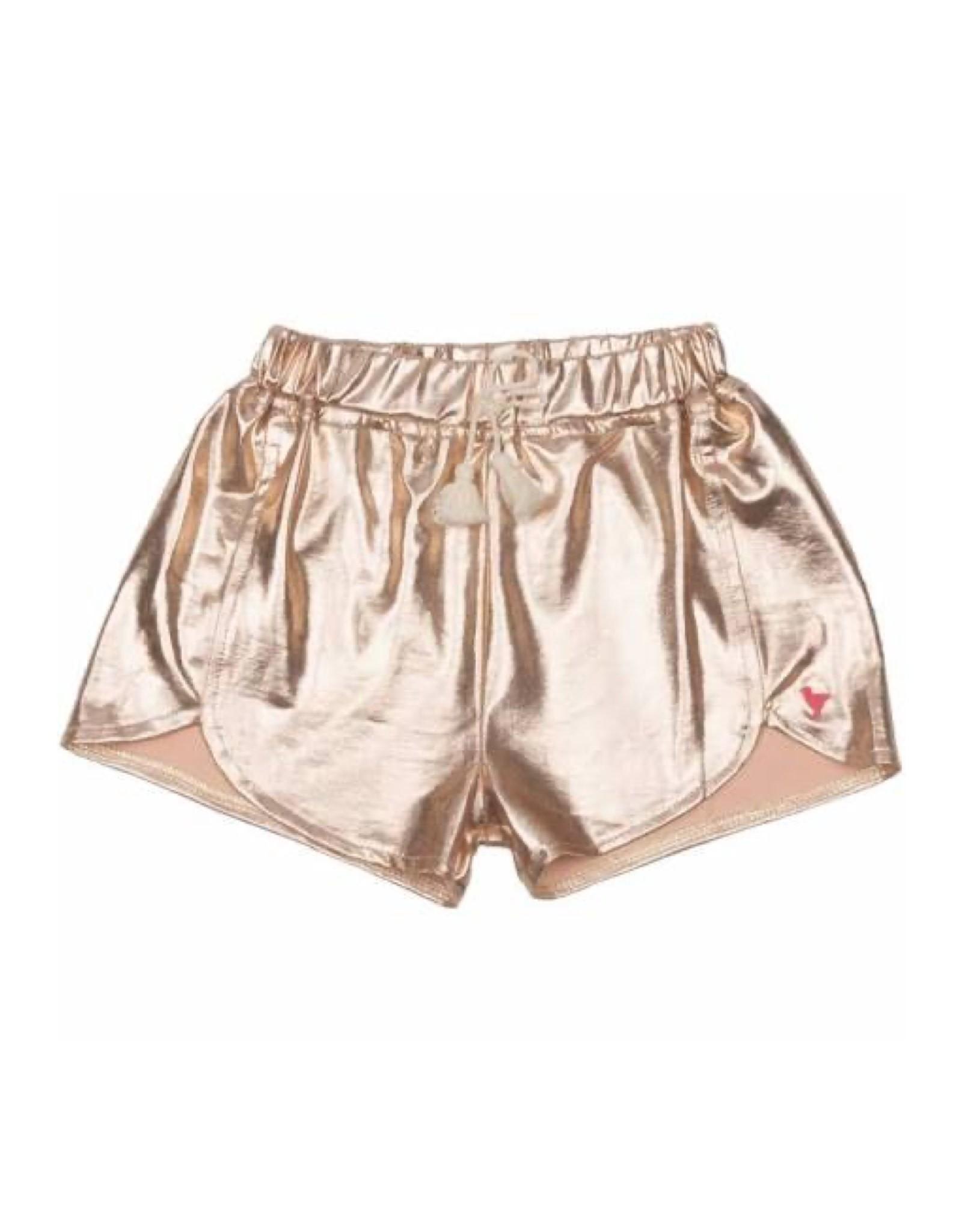 Pink Chicken Millie Metallic Rose Gold Shorts