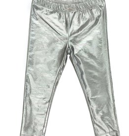 Pink Chicken Lame Metallic Legging Silver