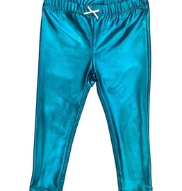 Pink Chicken Lame Metallic Legging Turquoise