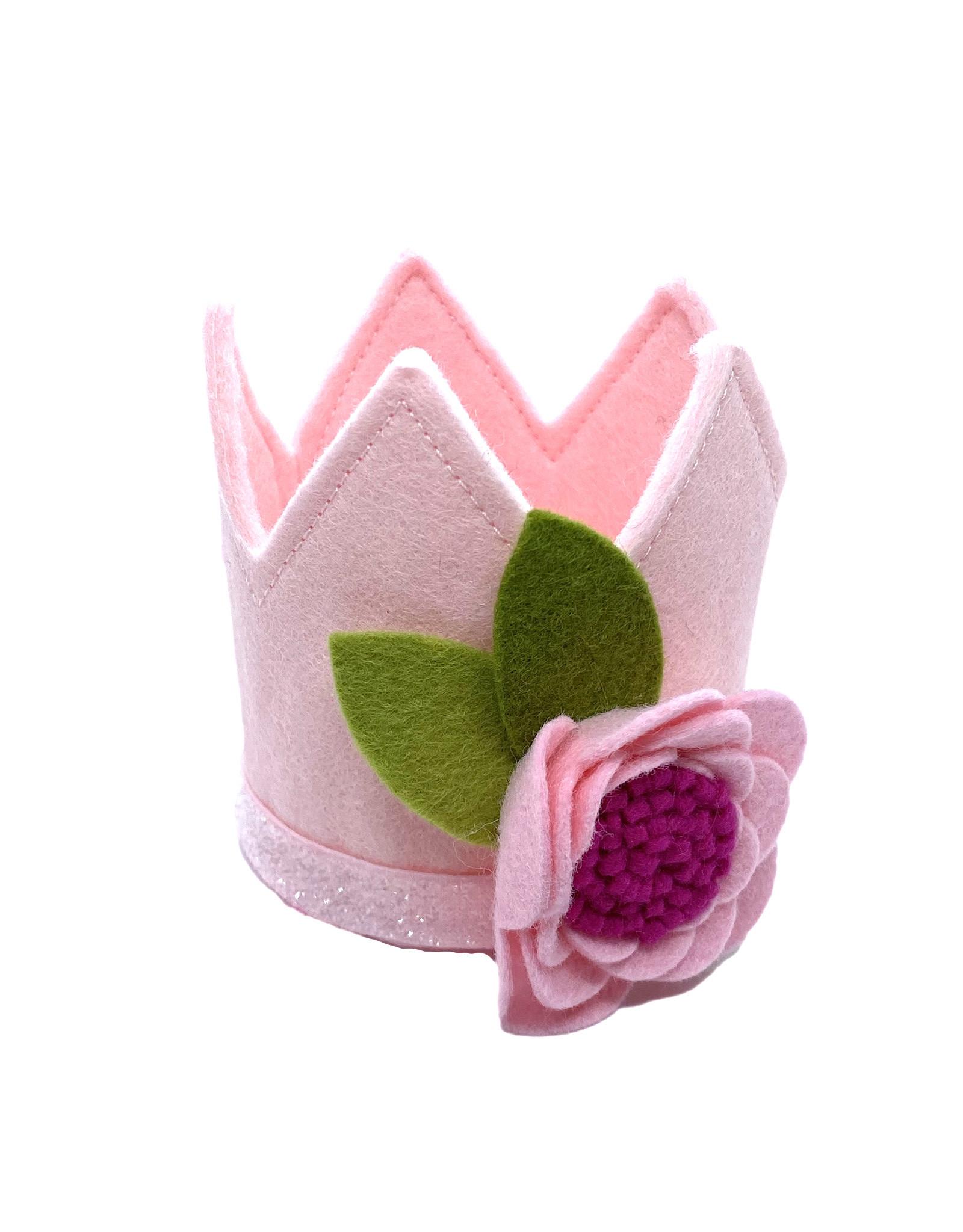 Little Blue Olive Pink Crown w/ Felt Flower