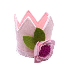Little Blue Olive Pink Crown w/ Felt Flower