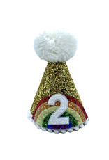 Little Blue Olive Party Hat Rainbow Gold 2
