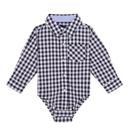 Andy and Evan Industries Gingham Navy/White Button Down