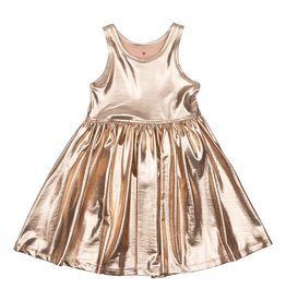 Pink Chicken Liza Lame Tank Dress Rose Gold
