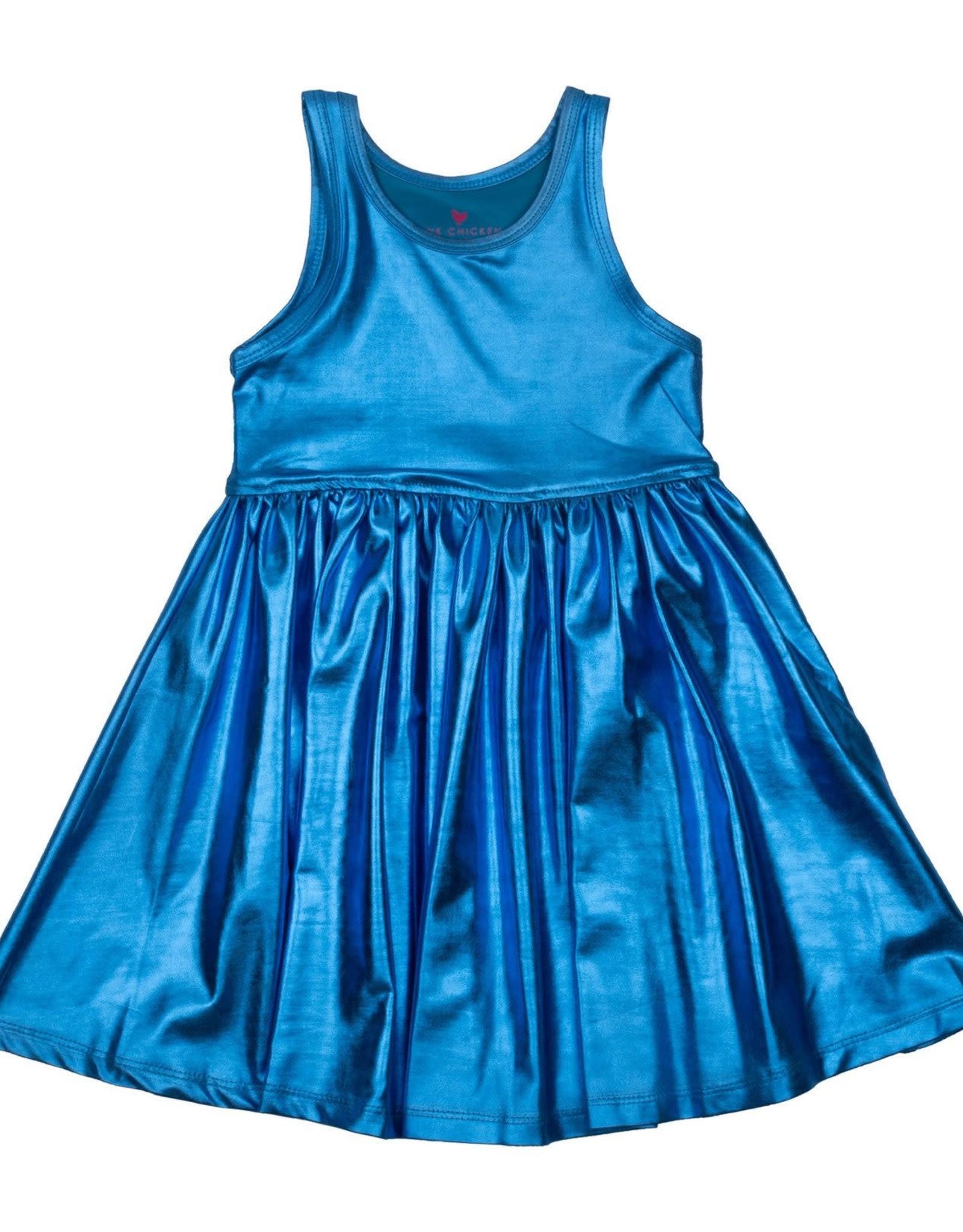 Pink Chicken Liza Lame Tank Dress Blue