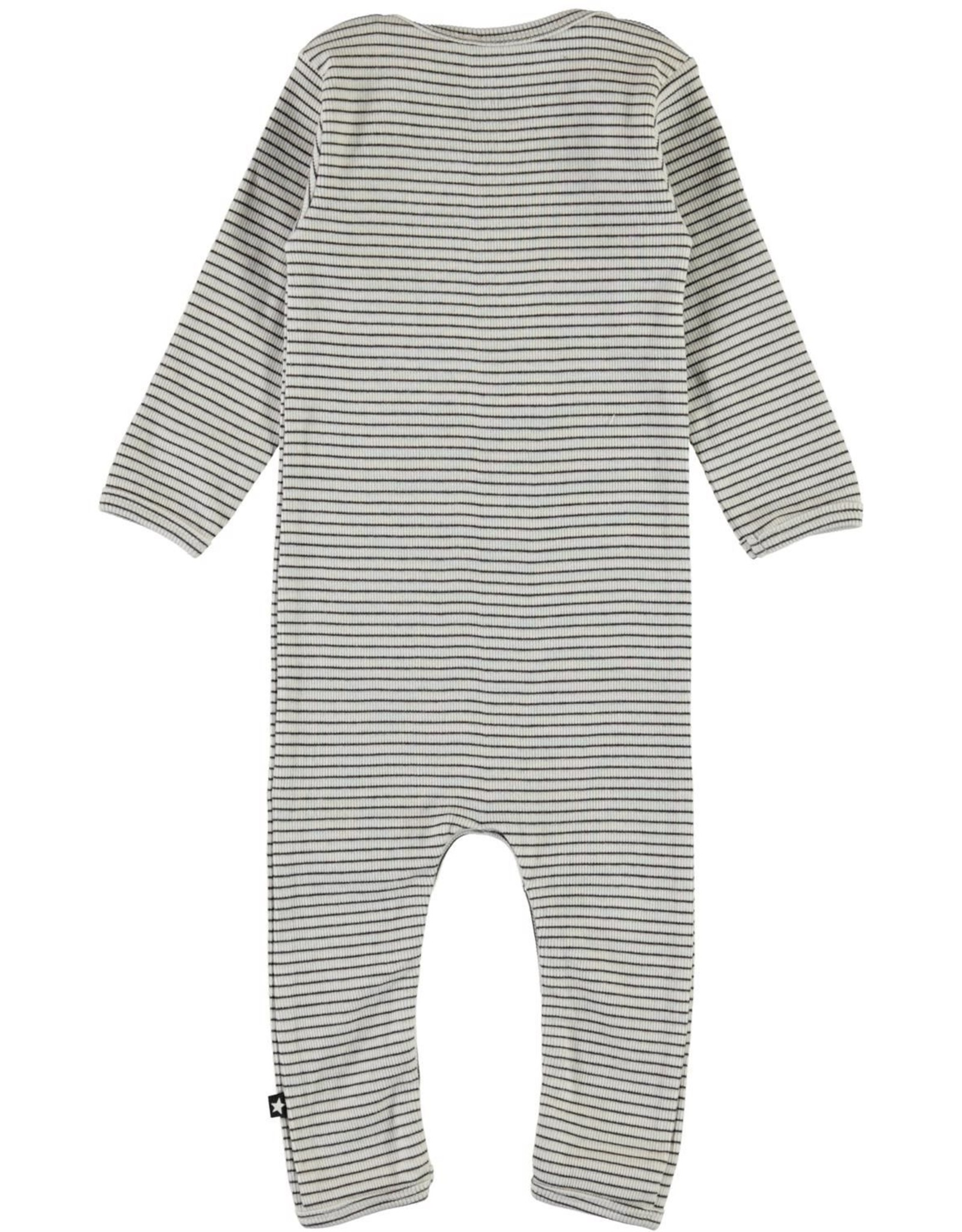 Molo Fenez White & Brown Stripe Jersey Bodysuit