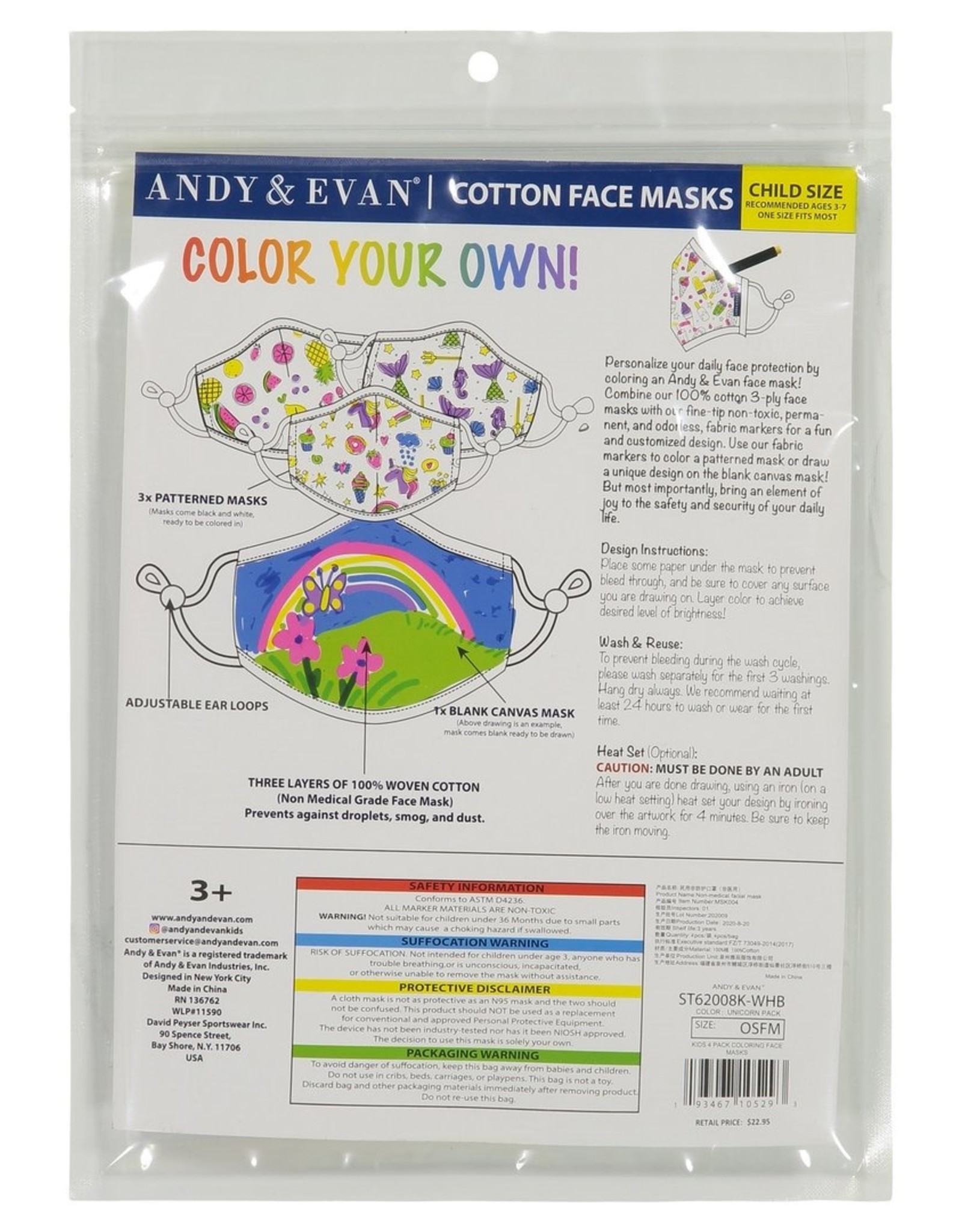 Andy and Evan Industries DIY Face Mask Unicorn Pack