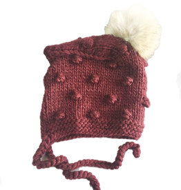 Blueberry Hill Knit Bonnet w/ Pom - Burgundy