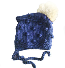 Blueberry Hill Knit Bonnet w/ Pom - Navy