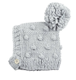 Blueberry Hill Knit Hat - Grey Button Pom