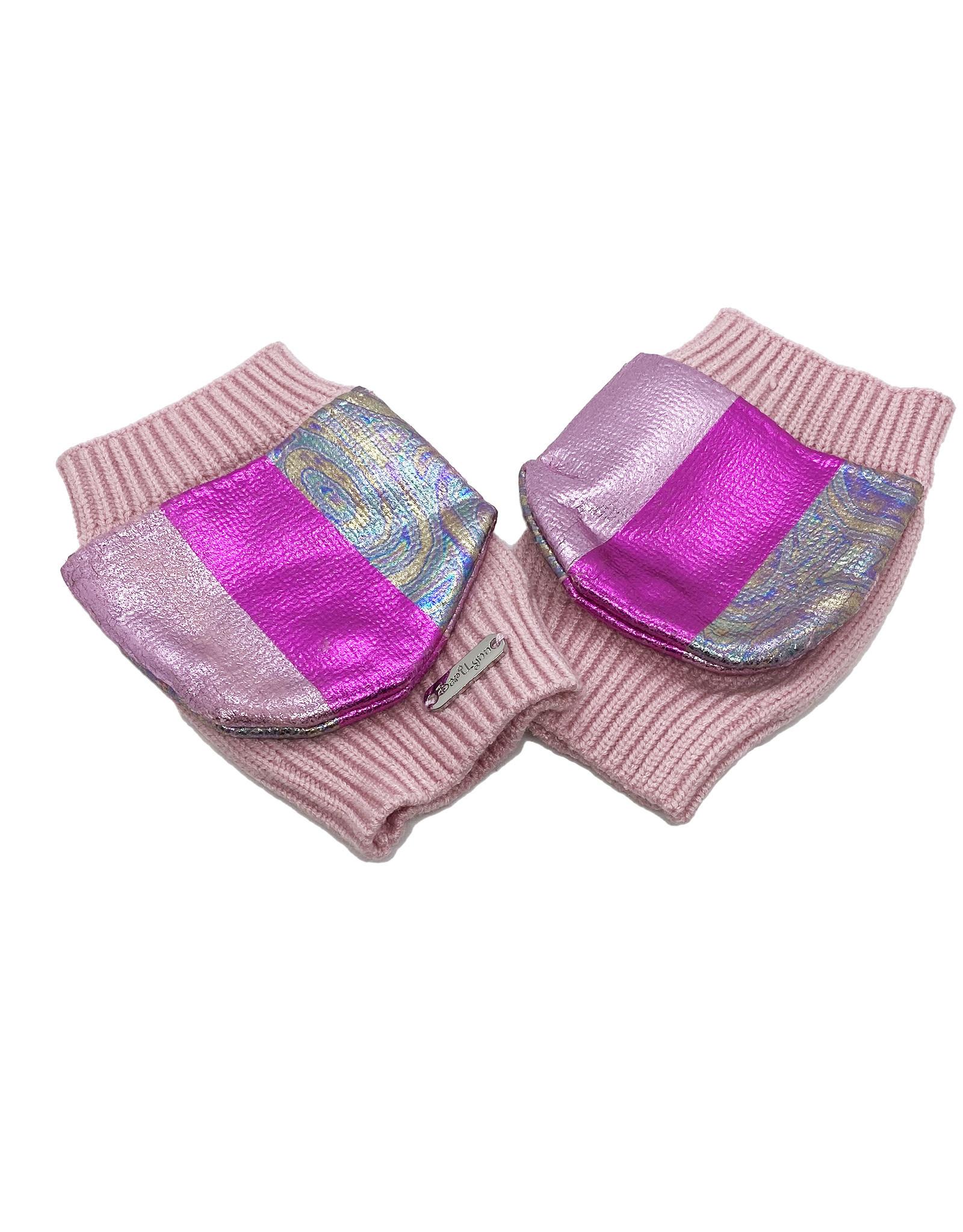 Bari Lynn Metallic Stripe Gloves- Pink