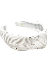 Bari Lynn Pleated Knot Headband- White