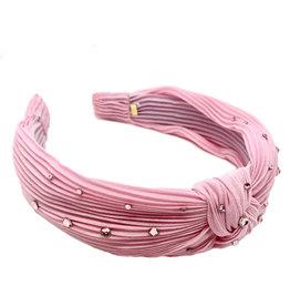Bari Lynn Pleated Knot Headband- Pink