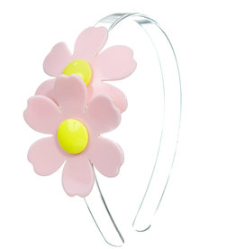 Lillies & Roses Double Daisy Light Pink Clear Headband