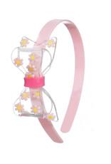 Lillies & Roses Fat Bow w/ Daisy Clear Light Pink Headband