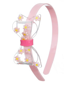 Lillies & Roses Fat Bow w/ Daisy Clear Light Pink Headband