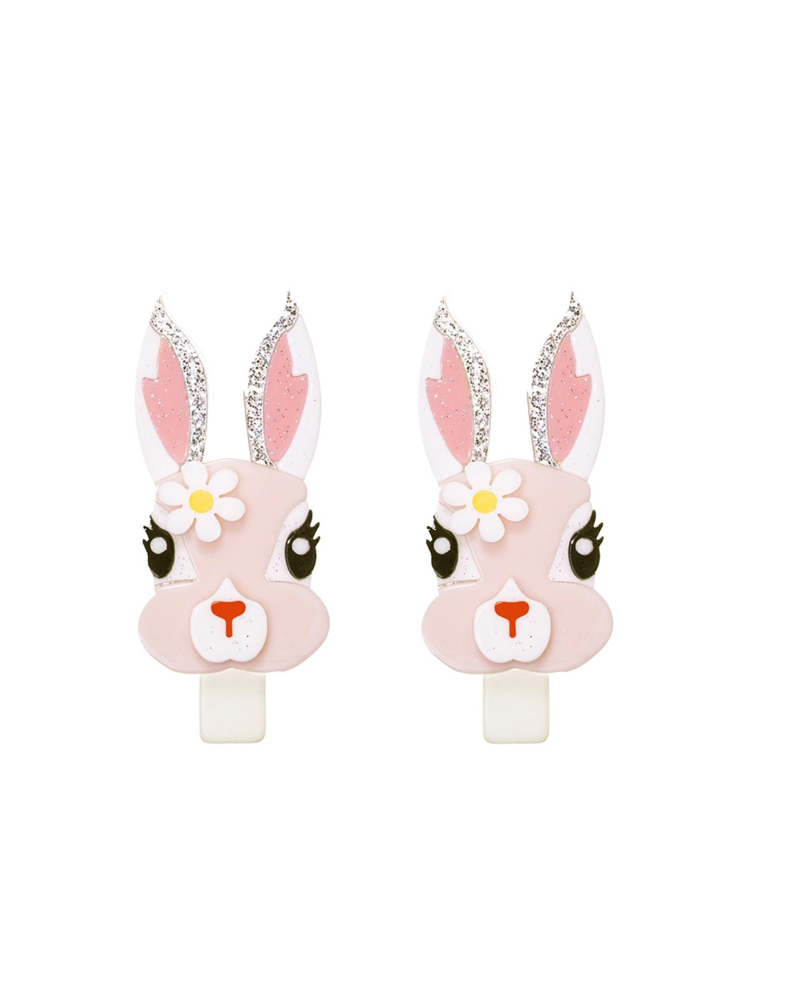 Lillies & Roses Pink Bunny w/ Flower Alligator clip
