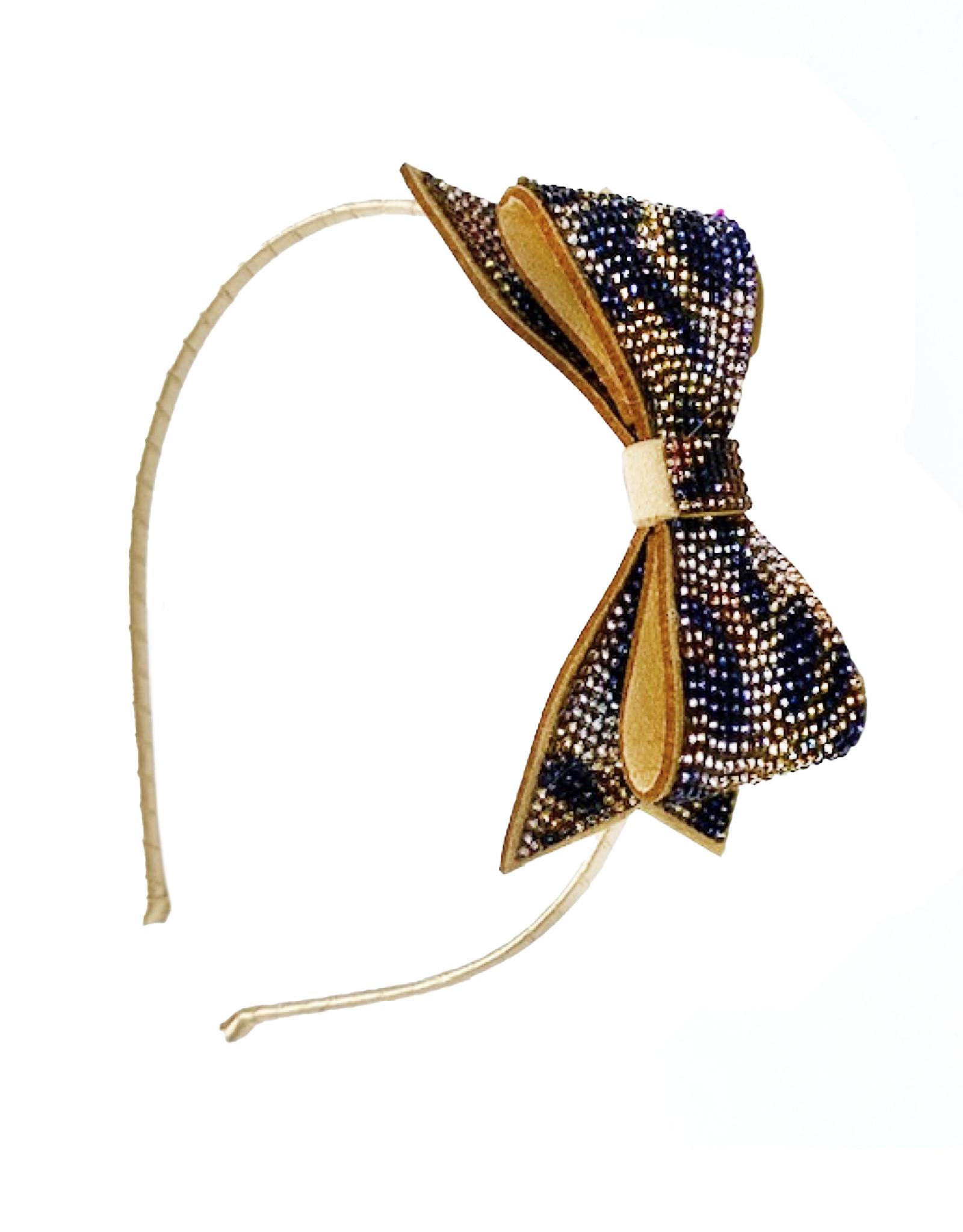 Bari Lynn Crystal Bow Tiger Print Headband