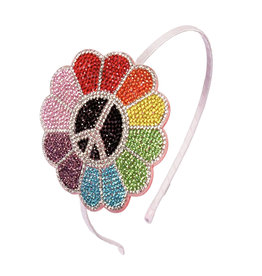 Bari Lynn Rainbow Peace Flower Crystal Headband