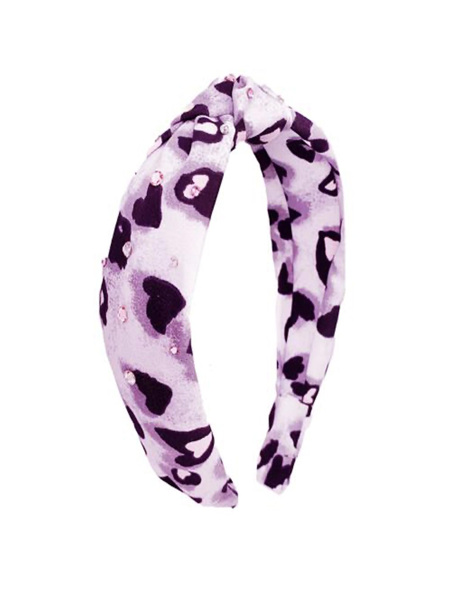 Bari Lynn Leopard Heart Knot Headband- Pink