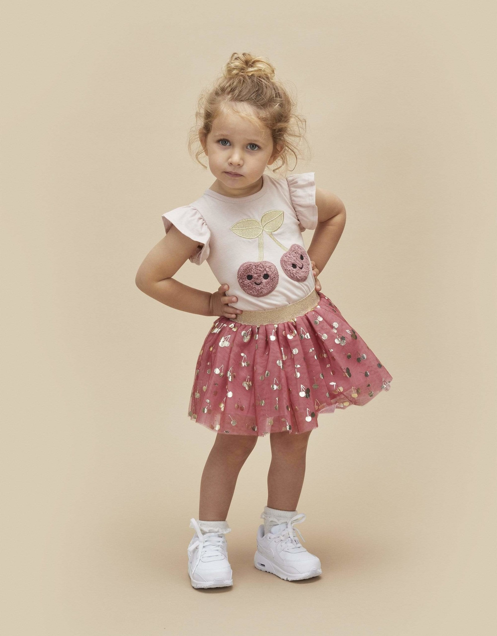 Huxbaby Gold Cherry Tulle Skirt (Berry)