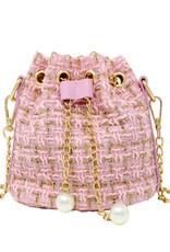 Tiny Treats & Zomi Gems Tweed Drawstring Bag Pink