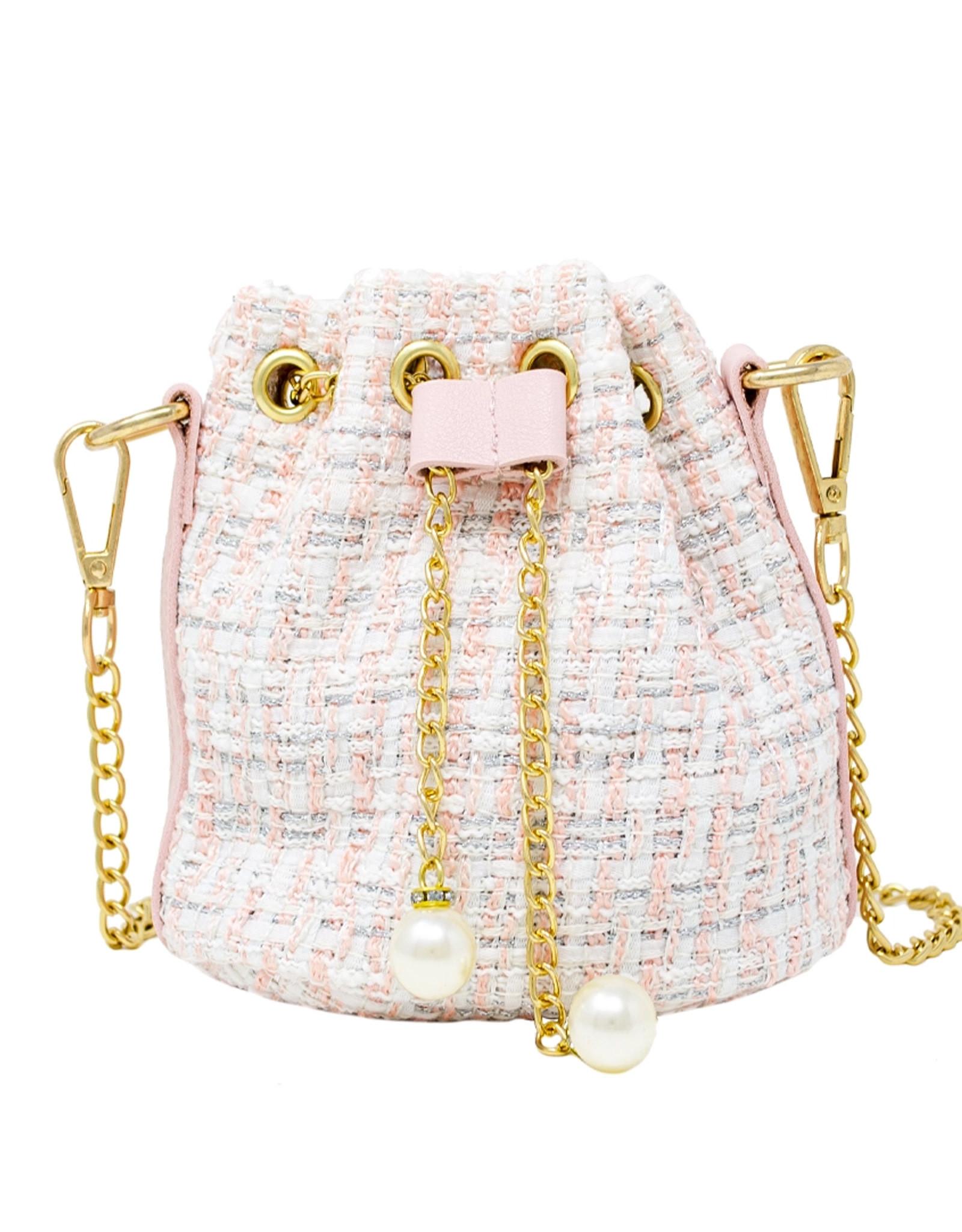 Tiny Treats & Zomi Gems Tweed Drawstring Bag White