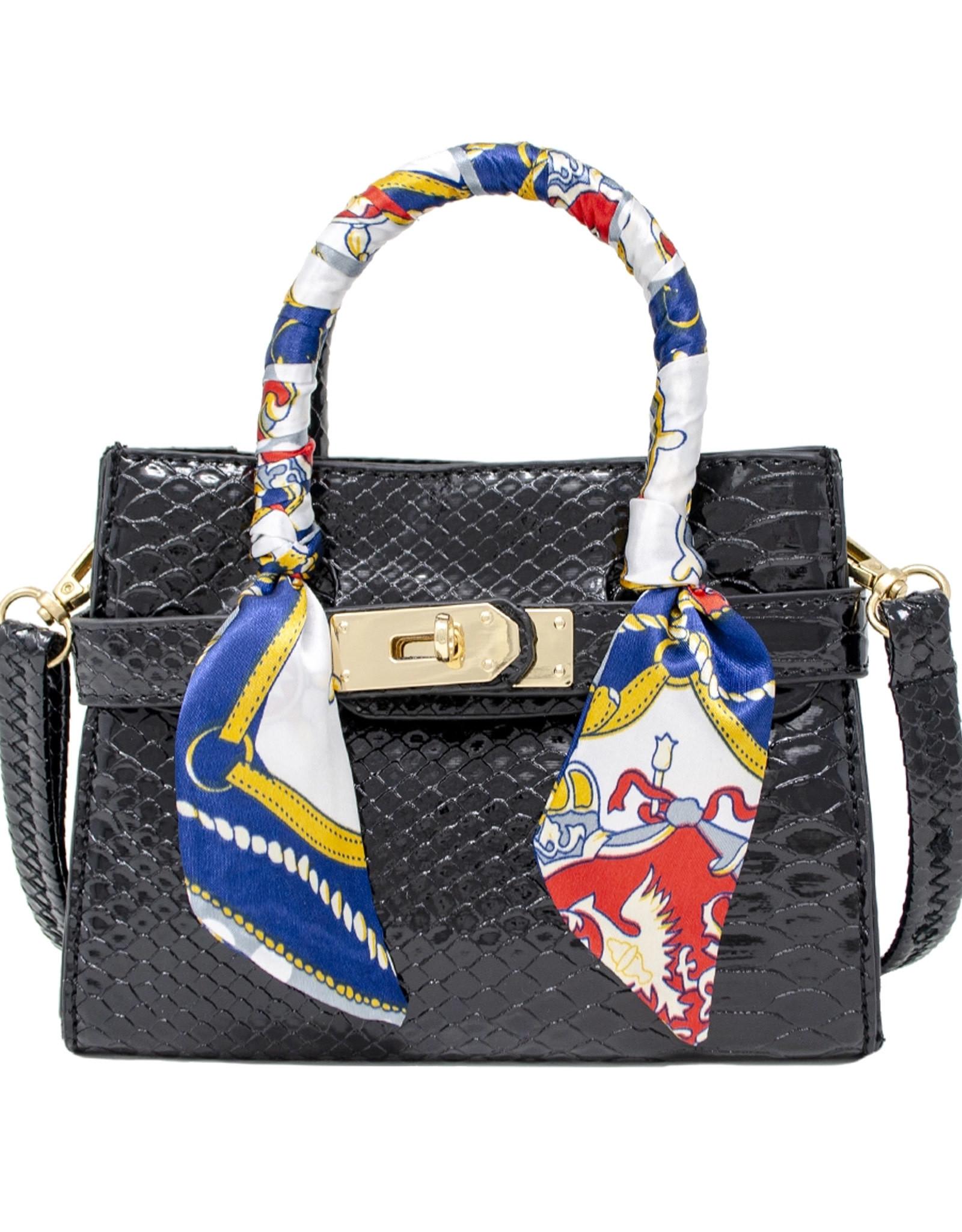 Tiny Treats & Zomi Gems Patent Crocodile Scarf Handbag Black