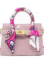 Tiny Treats & Zomi Gems Patent Crocodile Scarf Handbag Pink