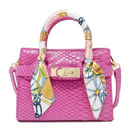 Tiny Treats & Zomi Gems Patent Crocodile Scarf Handbag Hot Pink