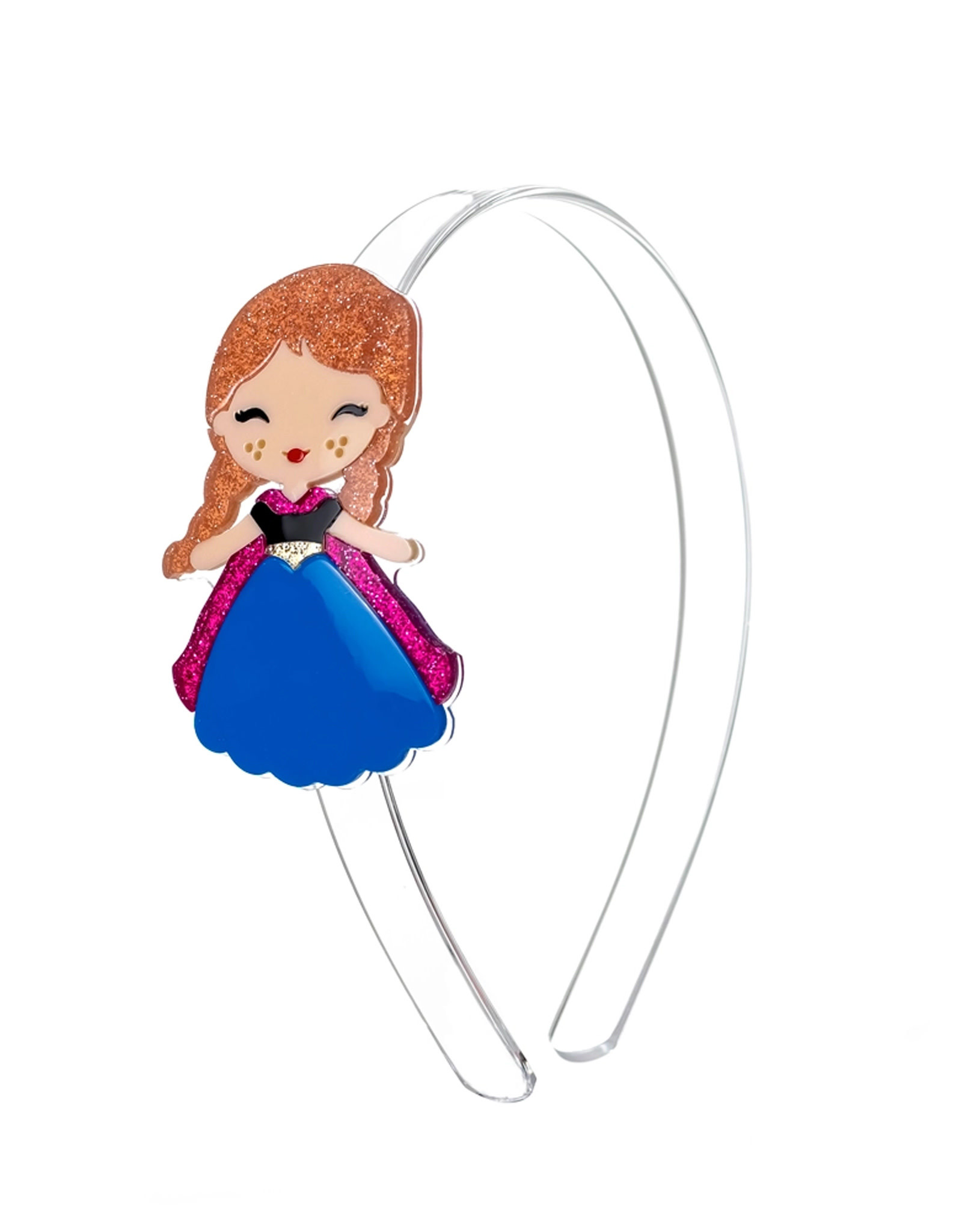 Lillies & Roses Headband Cute Doll with Freckles (Blue Dress)