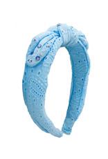 Bari Lynn Bl Eyelet Knot Headband Blue