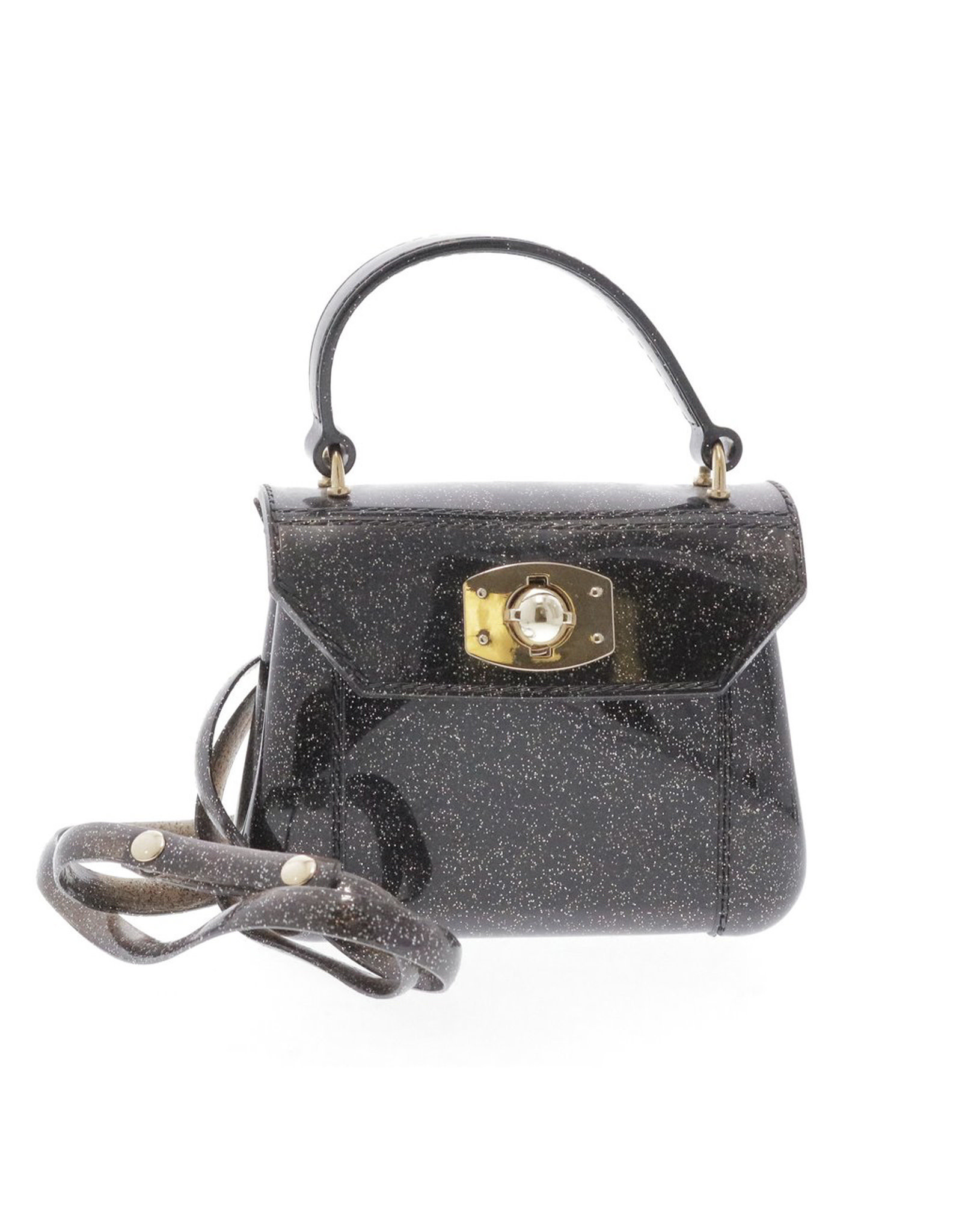 Doe a Dear Black Glitter Jelly Bag