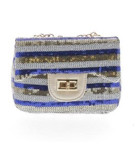 Doe a Dear Blue Stripe Sequin Mini Purse