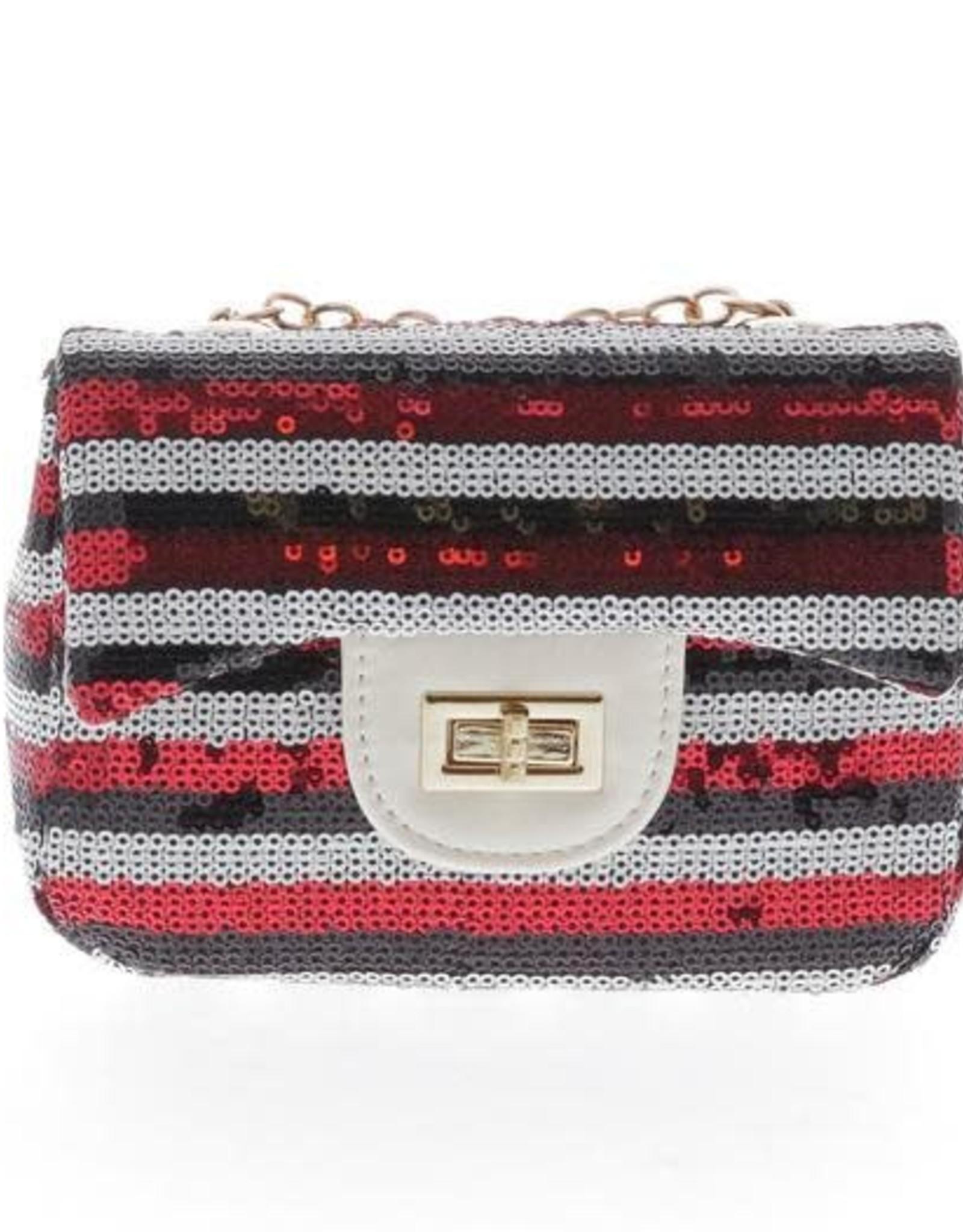 Doe a Dear Red Stripe Sequin Mini Purse