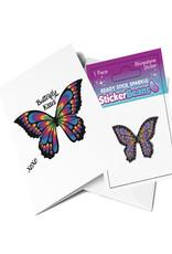Sticker Beans Rainbow Butterfly Greeting Card w/ Sticker