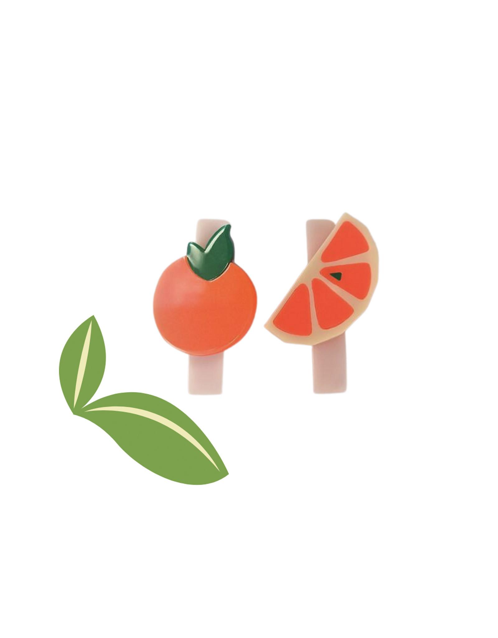 Lillies & Roses Orange and Slice Alligator Clip (pair)