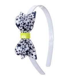 Lillies & Roses Fat Bow White & Navy Flower Print Headband