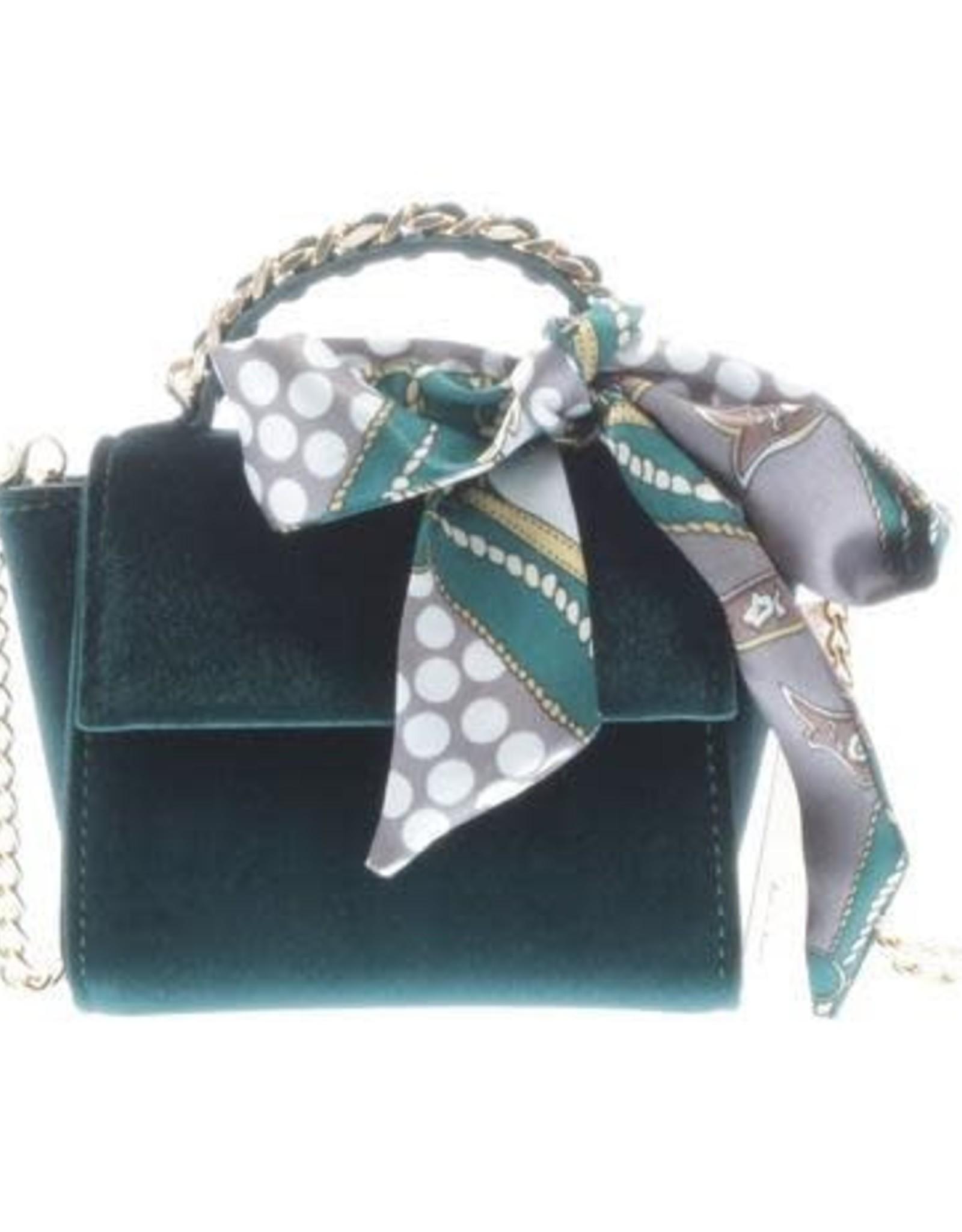Doe a Dear Emerald Velvet Handbag w/ scarf