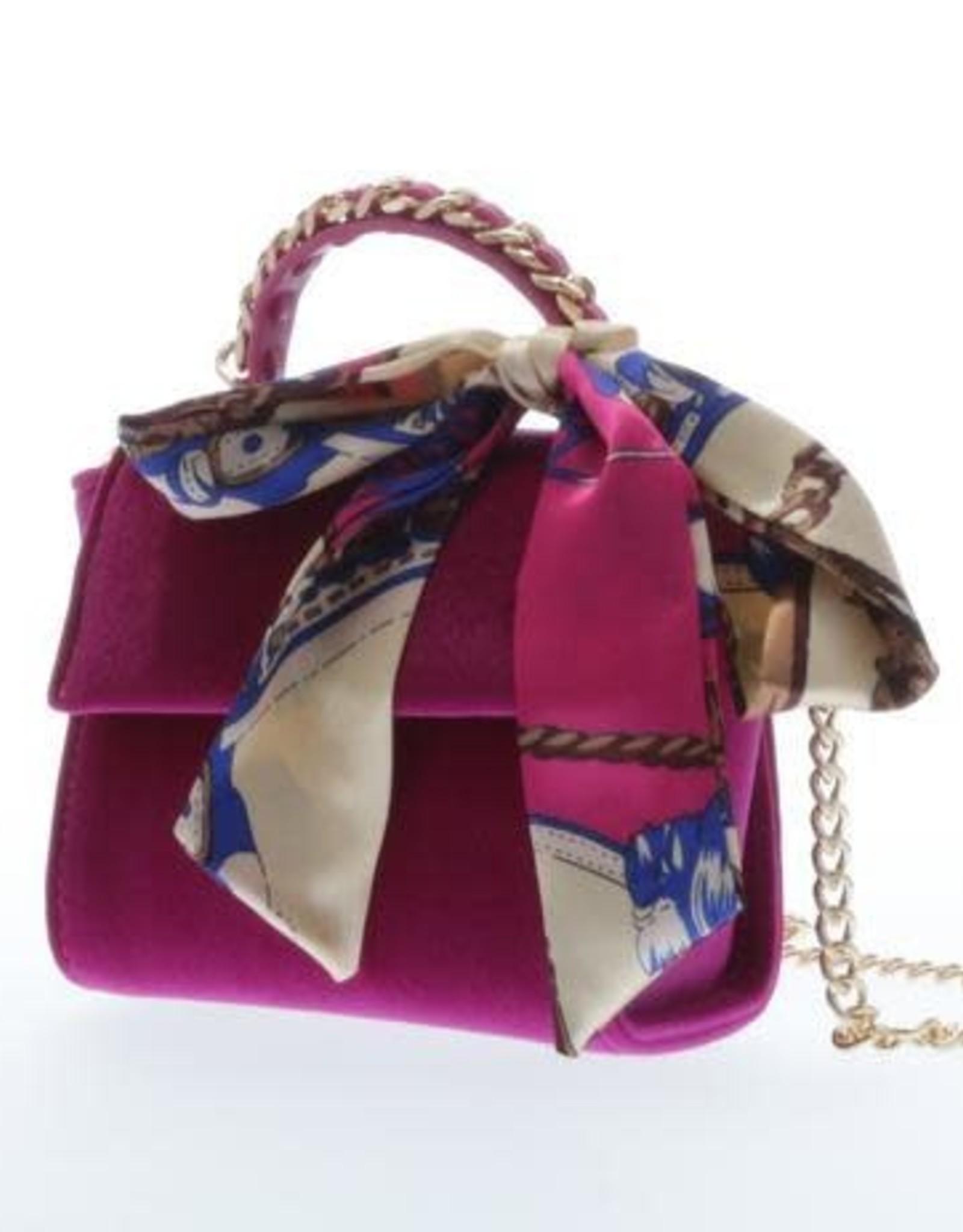 Doe a Dear Fuchsia Velvet Handbag w/ scarf
